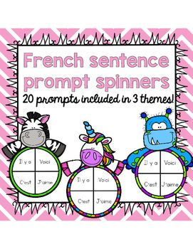 This freebie includes 20 sentence starter prompts in 3 different spinner themes…
