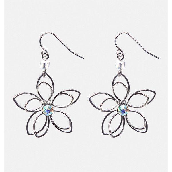 Avenue Wire Flower Drop Earrings ($10) ❤ liked on Polyvore featuring jewelry, earrings, plus size, silver, imitation jewellery, summer earrings, artificial jewellery, flower jewelry and avenue jewelry