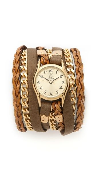 Sara Designs Leather and Suede Wrap Watch