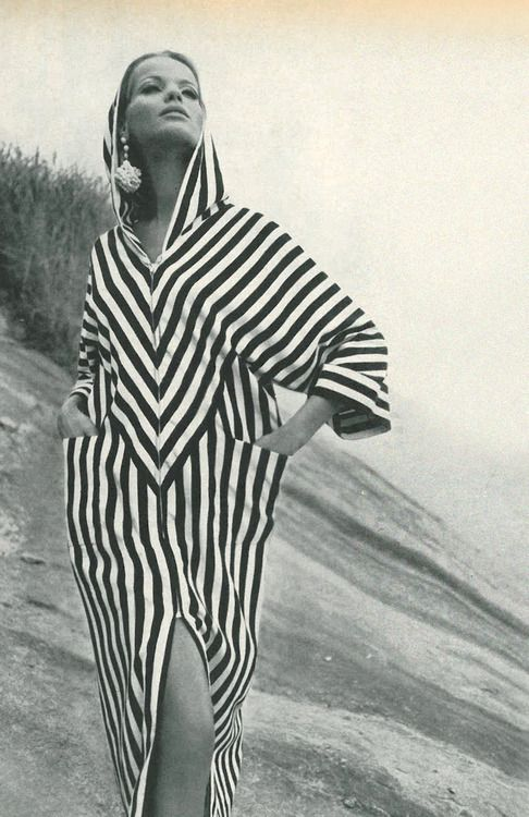 Black and white stripes are back in style this season. This is a photo by Henry Clarke from Vogue, 1965.