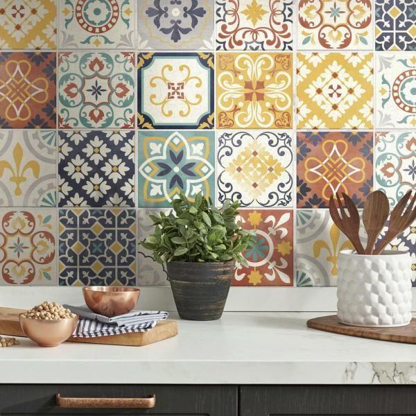 Roommates 10 5 In X 10 5 In Spanish Terracotta Tile Peel And Stick Backsplash Til4279flt The Home Depot Stick On Tiles Stick Tile Backsplash Peel N Stick Backsplash