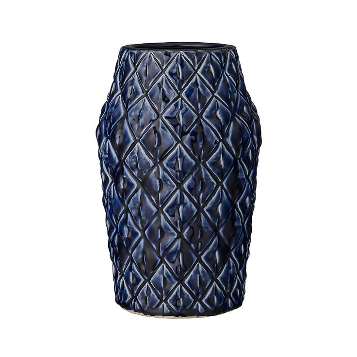 Discover The Bloomingville Textured Ceramic Navy Vase At Amara