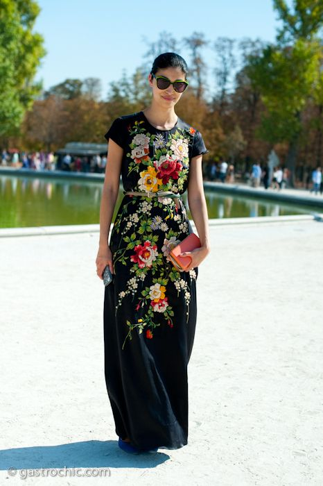 Obsessed with this Victor and Rolf silk embroidered maxi dress, worn by Caroline Issa.