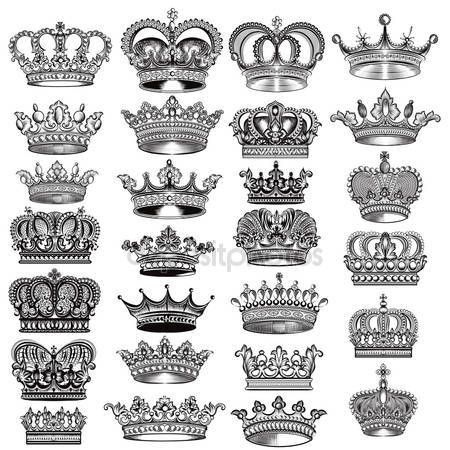 Mega grande conjunto de vetor mão desenhada filigrana coroas em estilo vintage