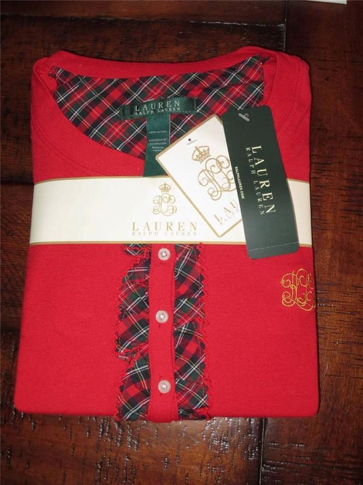 RALPH LAUREN  WOMEN'S SLEEP SHIRT  NIGHTGOWN  PAJAMAS  LARGE  CHRISTMAS RED NEW #LAURENRALPHLAUREN #Sleepshirt