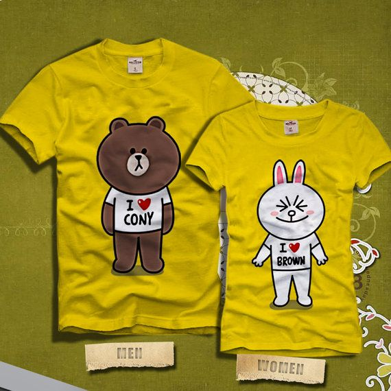 brown and cony line character couples tshirt line by. Black Bedroom Furniture Sets. Home Design Ideas