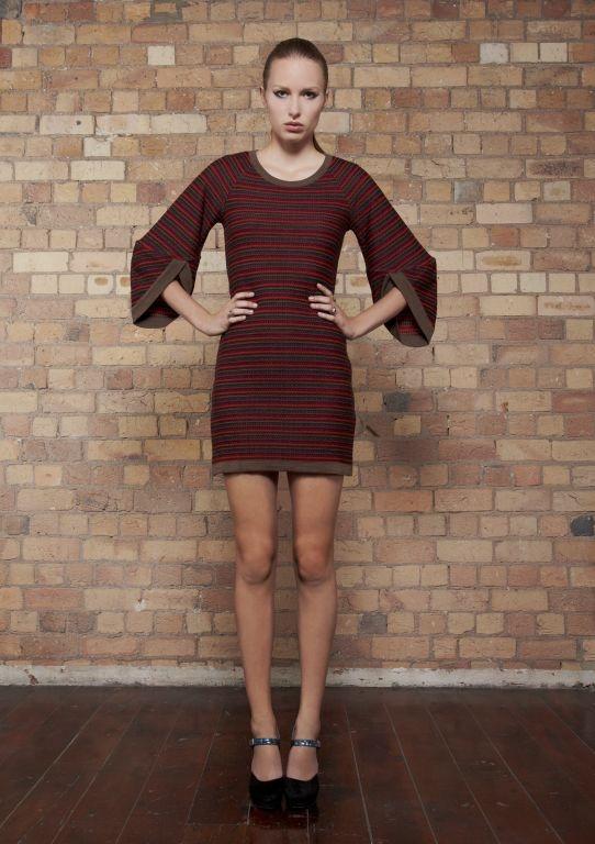 kyleedavis.com Bell Sleeved Fondue Dress made in NZ from 100% merino