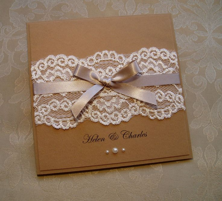 'Rustic Style' Wedding Invitation with lace and pearls! www.quillsweddingstationery.co.uk https://www.facebook.com/pages/Quills-Wedding-Stationery/278003989009997