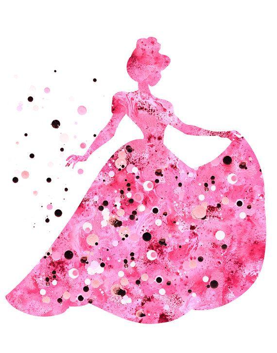 Pink princess print Disney prinses print Disney door FluidDiamondArt