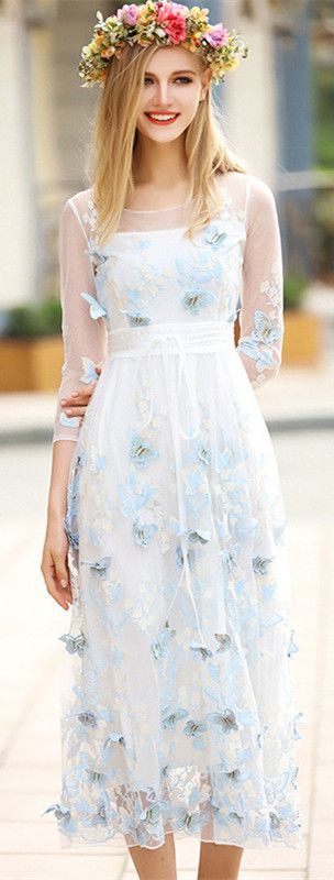 Light Blue Butterfly Illusion Dress