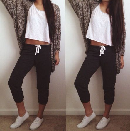 Comfy Outfit For Everyday-Wear: White Crop Top and Dark Grey Capri Sweats Paired with Brown Knitted Oversized Cardigan and White Flats/Sneakers