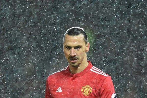 Zlatan Ibrahimovic is seen during the English Premier League football match between Manchester United and Brighton and Hove Albion at Old Trafford in Manchester, north west England, on November 25, 2017. / AFP PHOTO / Oli SCARFF / RESTRICTED TO EDITORIAL USE. No use with unauthorized audio, video, data, fixture lists, club/league logos or 'live' services. Online in-match use limited to 75 images, no video emulation. No use in betting, games or single club/leag