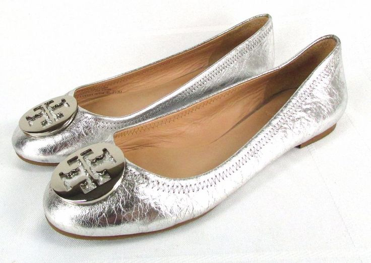 TORY BURCH REVA Silver Crinkle Leather Ballet Flats Logo 7.5 #ToryBurch #BalletFlats