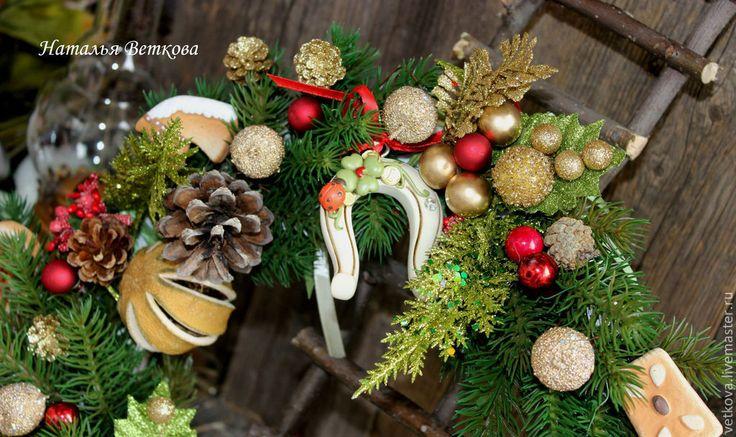 Купить интерьерное украшение рождественский венок Волшебный дух Рождества - зелёный, венок, венок на дверь