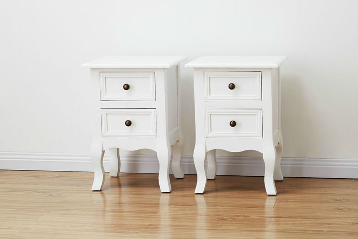 Pair of Bedside Tables - Brand New - Shabby Chic - White - 2 x Nightstands