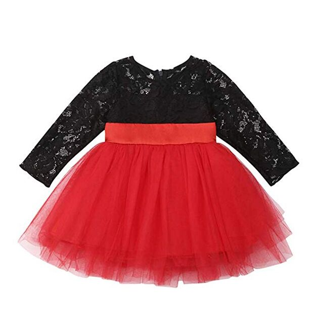 Kids Toddler Baby Girls Bowknot Long Sleeve Dress Outfits Party Holiday Clothes