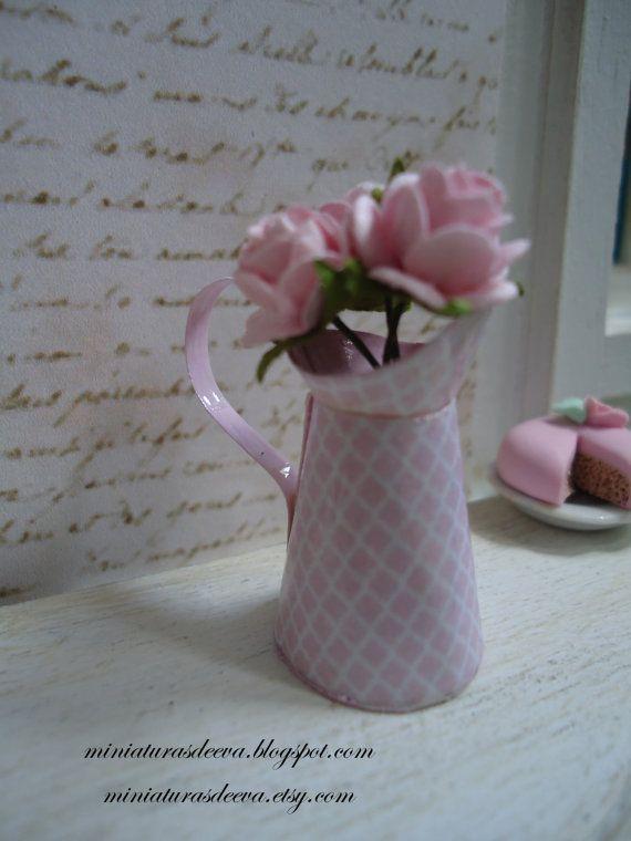Pitcher Jug with roses. Dollhouse. Home decor. by MiniaturasDeEva, €5.50