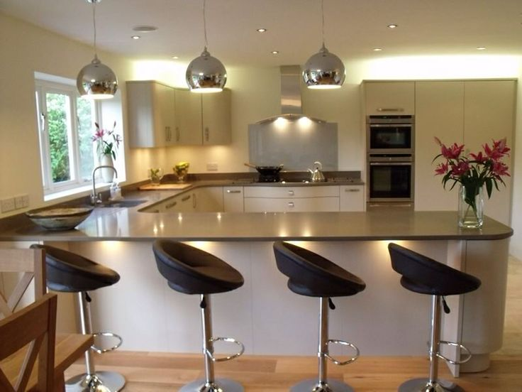 Cool Mirrored Overhead Lighting With Black Swivel Bar Stools Feat White  Cabinets In Small U Shaped Kitchen Design
