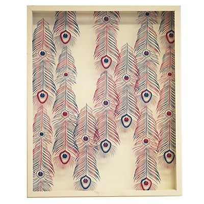 Paon Cadre imprimé plumes blanc 40x50cm