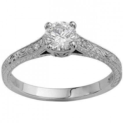 Vintage engraved engagement ring