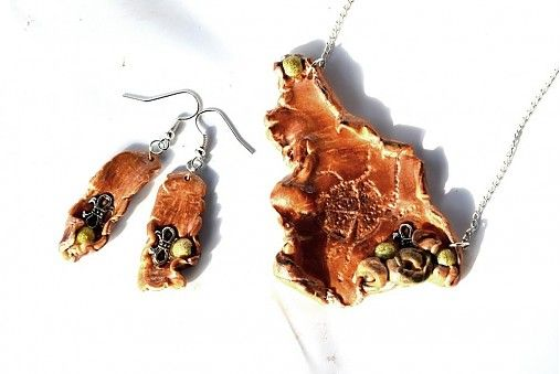 """CuteArt / Lesná paráda  """"wooden"""" jewelry...:-) made from a polymer clay.."""