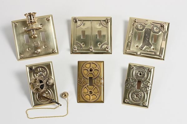 Light switch plates.: Idea, Lighting Switch Plates, Steampunk Homes, Steam Punk, Steampunk Lighting, Diy'S Lighting, Homes Decoration, Switchplat, Lighting Switch Covers