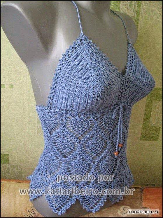 Katia Ribeiro Acessórios: Cropped top crochê com gráfico