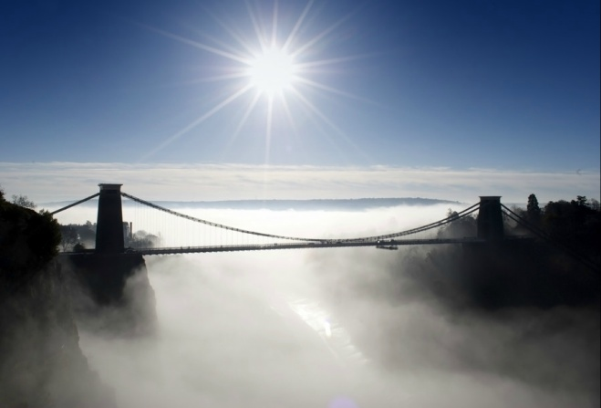 Clifton Suspension Bridge in the mist