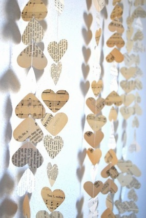 love this idea! Heart streamers.  Pair with ribbons, thin lengths of torn fabric, tissue orbs?
