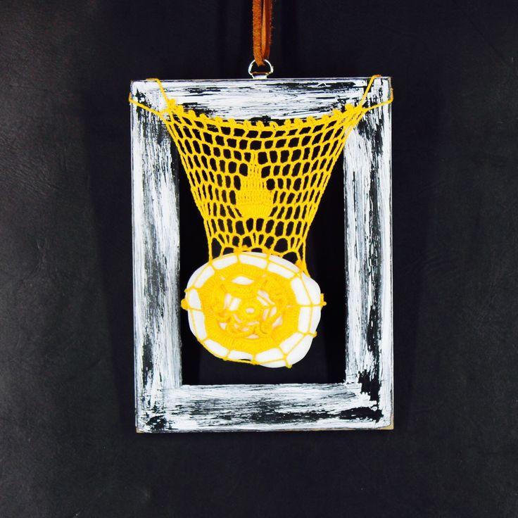 Yellow crochet stone