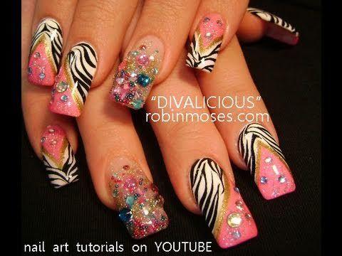 CAVIAR NAILS DIVALICIOUS BLING PINK BLACK WHITE ZEBRA PRINT:robin moses nail art design tutorial