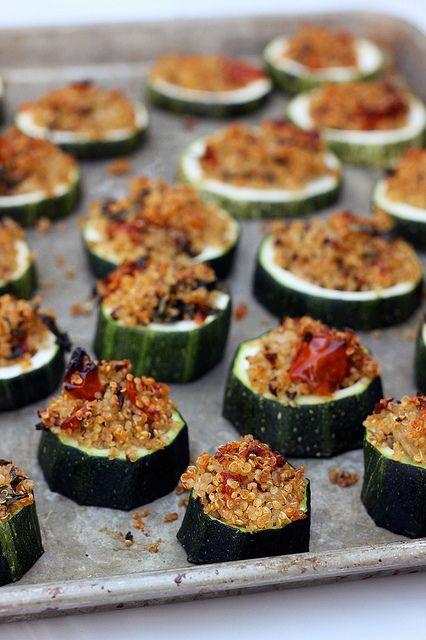 Quinoa Stuffed Zucchini Bites - Gluten-free + Vegan, via Tasty Yummies-- great gluten free recipe resource.