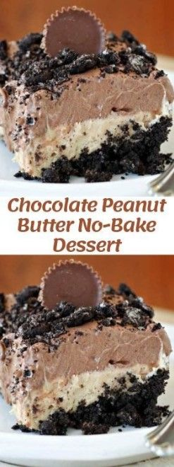 Chocolate Peanut Butter No-Bake Dessert – Top co…