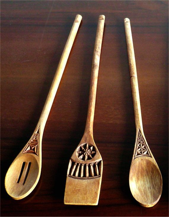 Three Hand Carved Decorative Wooden Spoons -  assorted wood, oak-waxed