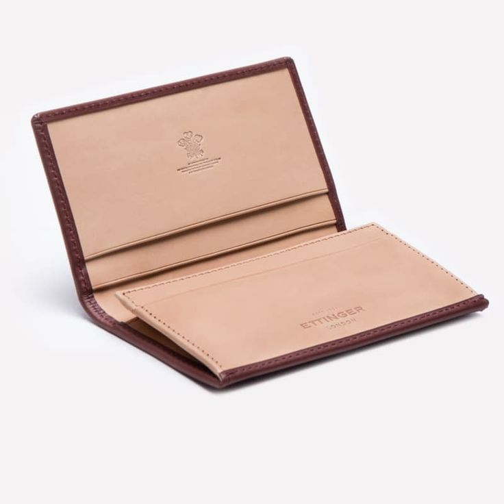 Ettinger London – Luxury Leather Goods – Saint Crispin Collection – Burnishable calf, silky soft leather.   Visiting card case inBracken brown on the outside and eggshell beige on the inside.
