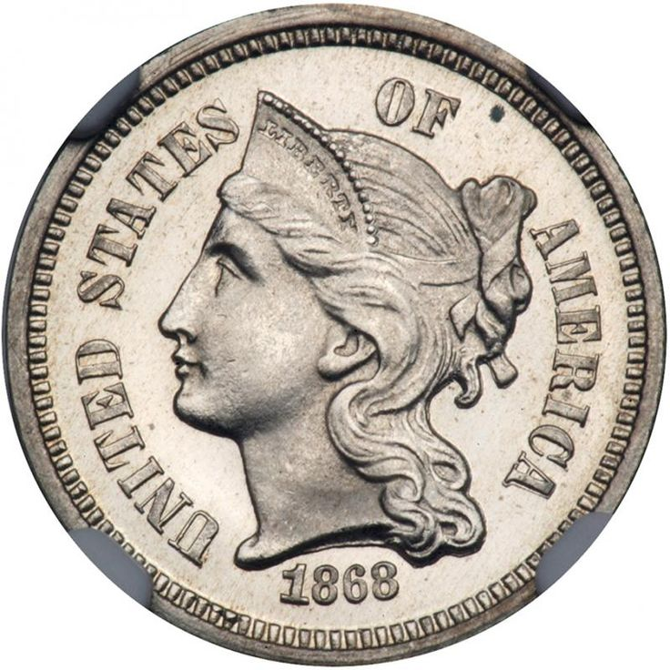 1868 Nickel Three Cents. NGC PF67 A fully white gem. Only 600 minted. The limited number of Gem Proof survivors above the Proof 65 level always excite bidders any time one appears at auction. It behooves us to mention that this coin's unqualified technical superiority ranks it near the top class, the coin's desirability is enhanced by beautiful pristine nickel-bright luster and swirling mirrors. We have mentioned the luster but could pen a few additional paragraphs if we chose to. In winding…