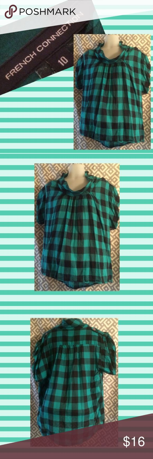 French Connection top, 10 Teal and black plaid top with adjustable sleeves. Great with skinny jeans and boots. French Connection Tops