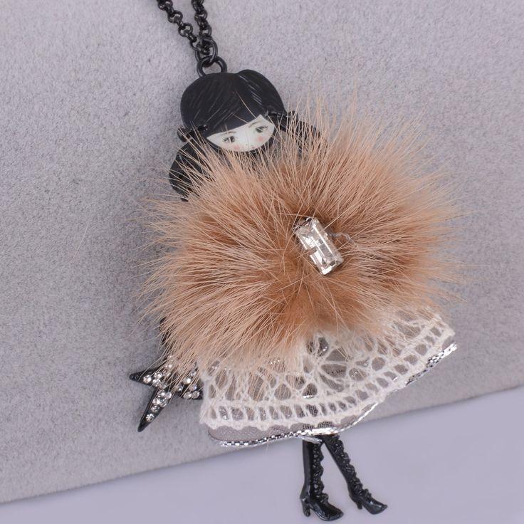 Black Gun Metal Jewelry Cute Girl Doll Necklace Long Necklace Women Pendant Jewelry Girl Doll Necklace