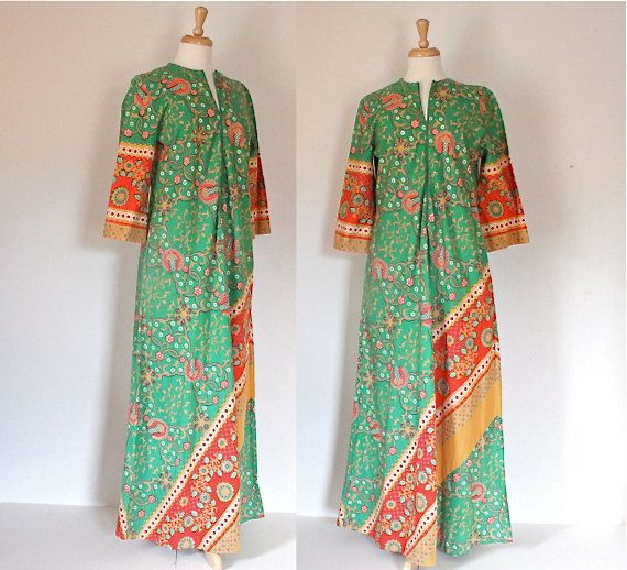 70s Caftan / Vintage Maxi Dress / Batik Tribal by DuncanLovesTess, $58.00