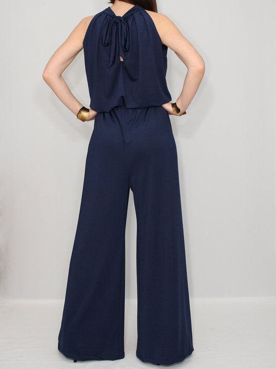 Navy Blue Jumpsuit Wide Leg Palazzo Jumpsuit For By