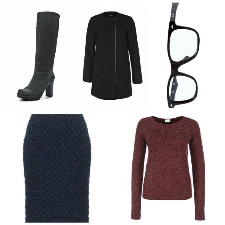 высокие черные сапоги, прямое короткое пальто, очки, твидовая юбка-карандаш, джемпер из шерсти