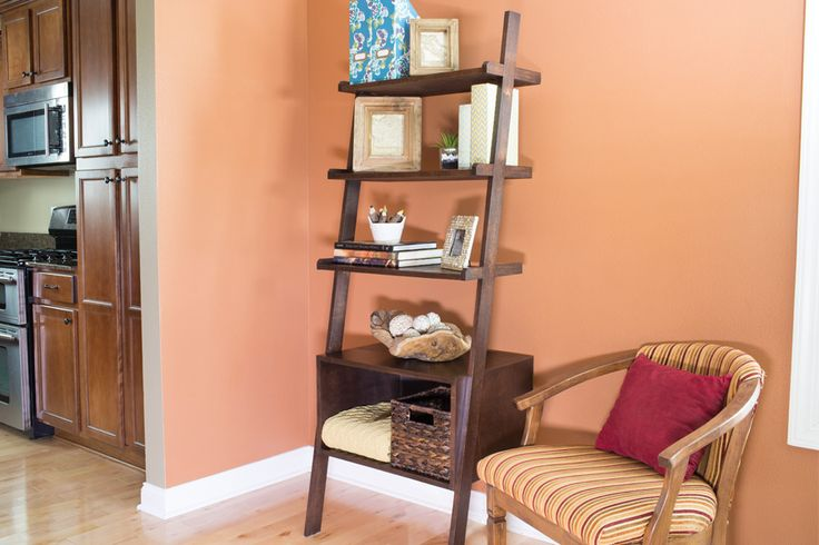 Here's proof that DIY projects don't have to be all about straight lines and square corners. These attractive shelves feature angled legs that might look like they add complexity. Truth is, they're not tough to build at all. Plus, they look as good as the items you display on them.