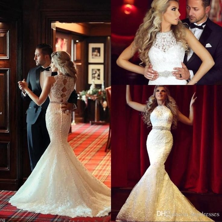 Vestido 2015 Stunning Arabic Mermaid Lace Wedding Dresses with High Neck Beading Sash Custom Bridal Gowns Covered Button Real Image