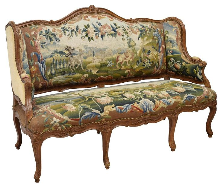 FRENCH LOUIS XV WING BACK SOFA AESOPu0027S TAPESTRY : Lot 0779