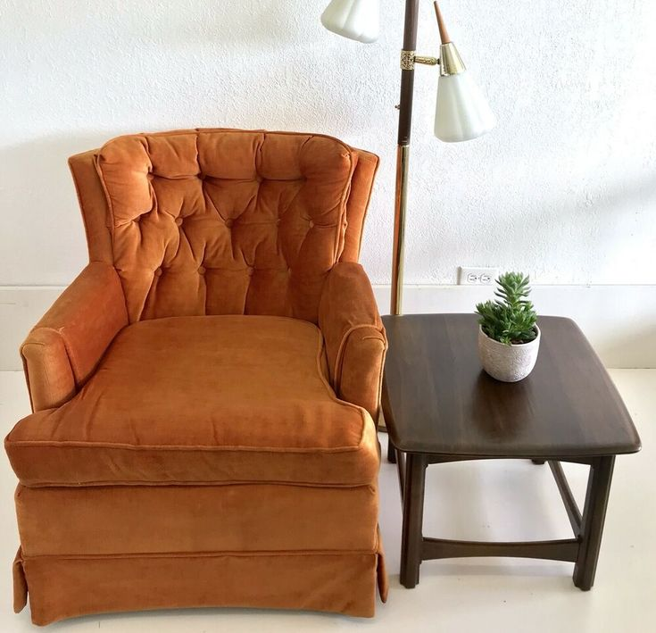 Mcm Multi Colored Accent Chair: Vintage MCM Burnt Orange Crushed Velvet Chair Upholstery