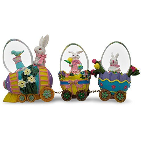 """5"""" x 6.5"""" Easter Bunny Easter Egg Train Water Globe Figurines * Be sure to check out this awesome product."""