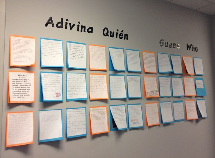 Each student chooses a famous person, researches facts about them, then writes a paragraph about them in Spanish, in the first person. Everyone can read the descriptions, then guess the person. Lift the papers to find out the person being described.