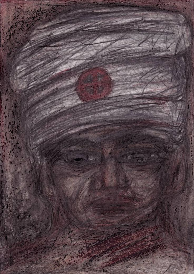 "Drawing: Pastel and Pencil on Paper.   Size: 11.7 H x  8.3 W x  0  in   Pawn ""The Former Journeyman"". The former headman who is holding important information from the past events. He has a significant impact on decision-making by certain groups of the population in the present.   All the characters are fictional, representing types of people. There are not portraits of real man or woman."