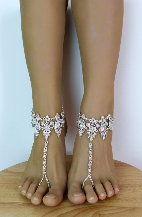 Amira Barefoot Sandals Anklet Beach Wedding Rhinestone Shoes Jewelry For Bride Bridal Ankle Bracelet