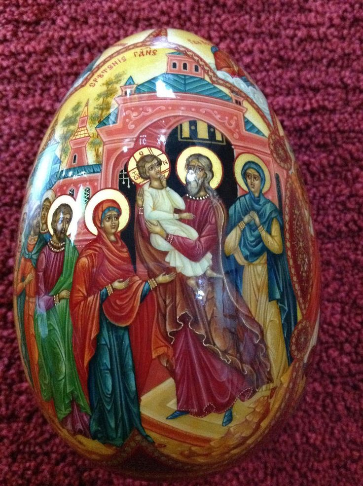 Wooden Hand Painted Egg  Scenes from the Life of Jesus Christ  Collectors Item